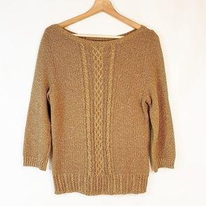 Lauren Ralph Lauren Gold Sweater Petite Large
